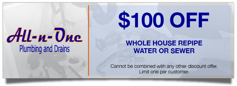 Coupons. Discount on Whole House Repipe - Water or Sewer
